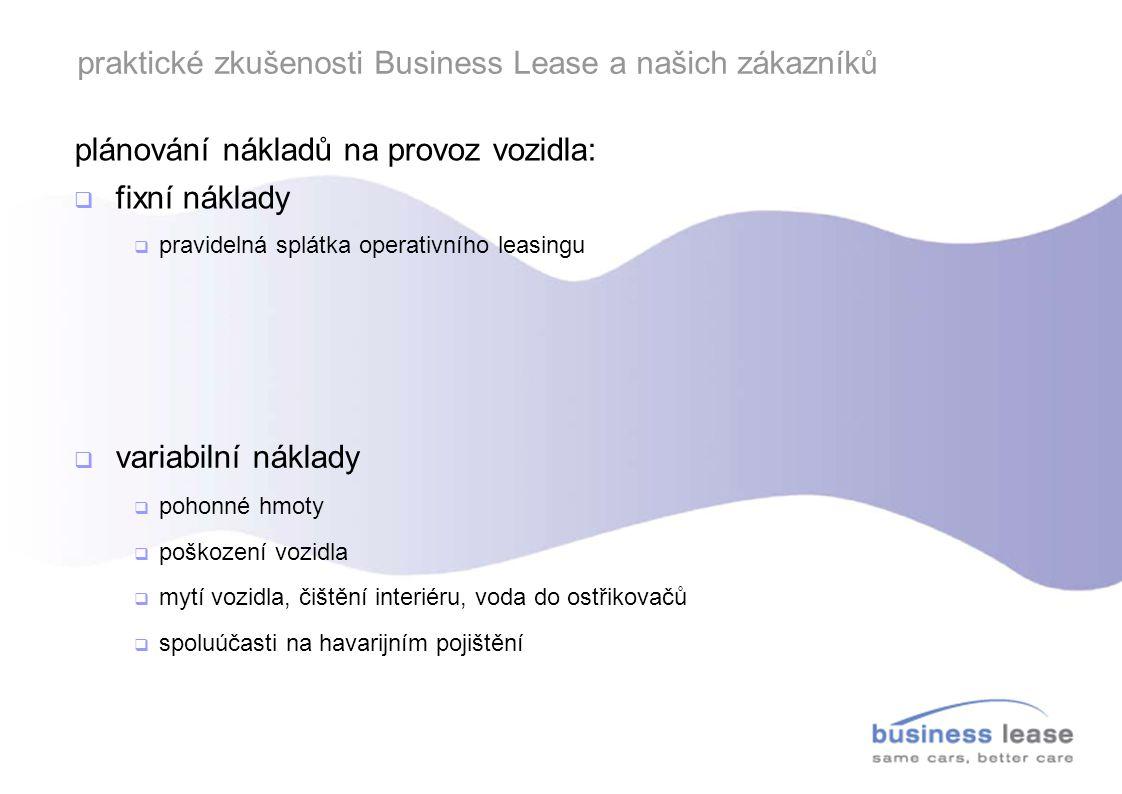 praktické zkušenosti Business Lease a našich zákazníků