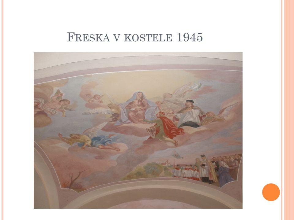Freska v kostele 1945