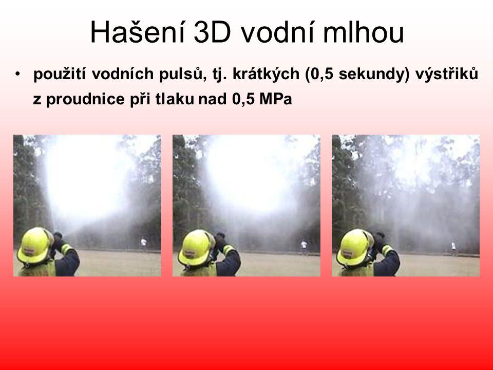 Hašení 3D vodní mlhou použití vodních pulsů, tj.