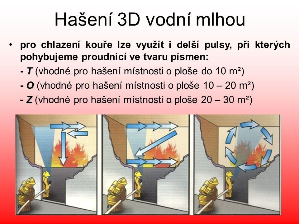 Hašení 3D vodní mlhou pro chlazení kouře lze využít i delší pulsy, při kterých pohybujeme proudnicí ve tvaru písmen: