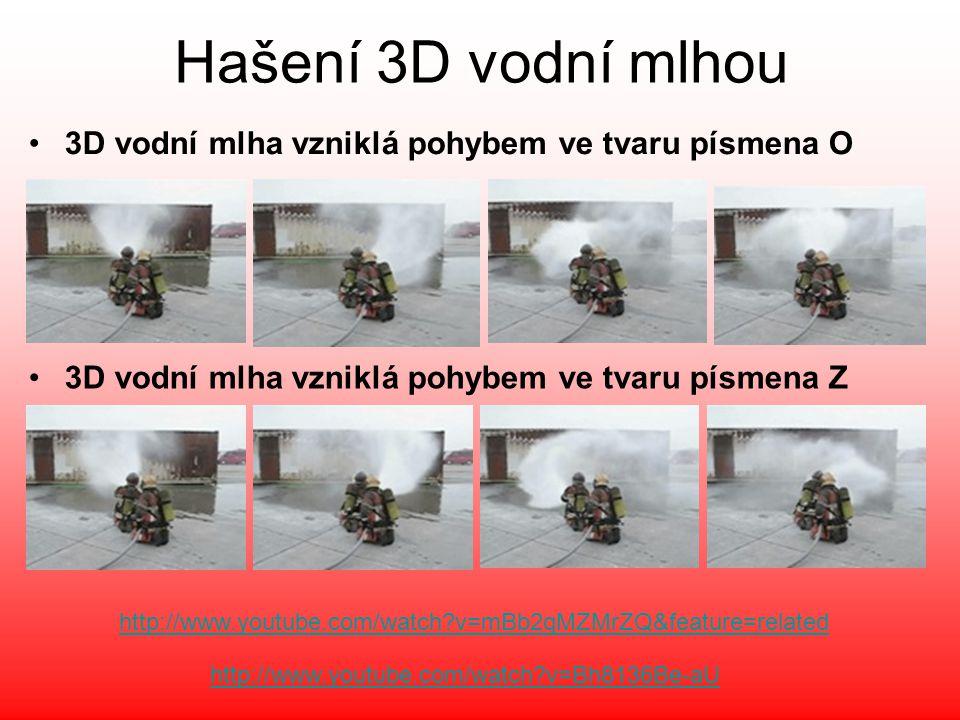 Hašení 3D vodní mlhou 3D vodní mlha vzniklá pohybem ve tvaru písmena O