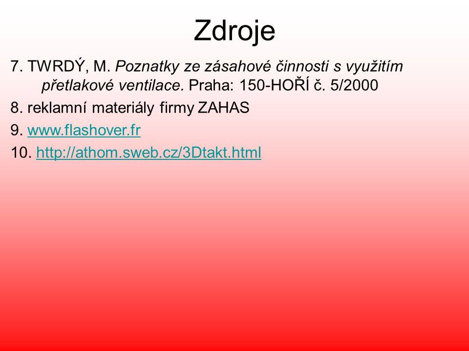 Zdroje 7. TWRDÝ, M. Poznatky ze zásahové činnosti s využitím přetlakové ventilace. Praha: 150-HOŘÍ č. 5/2000.