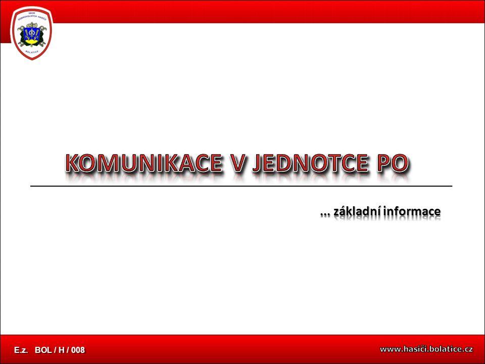... základní informace úvodní snímek E.z. BOL / H / 008