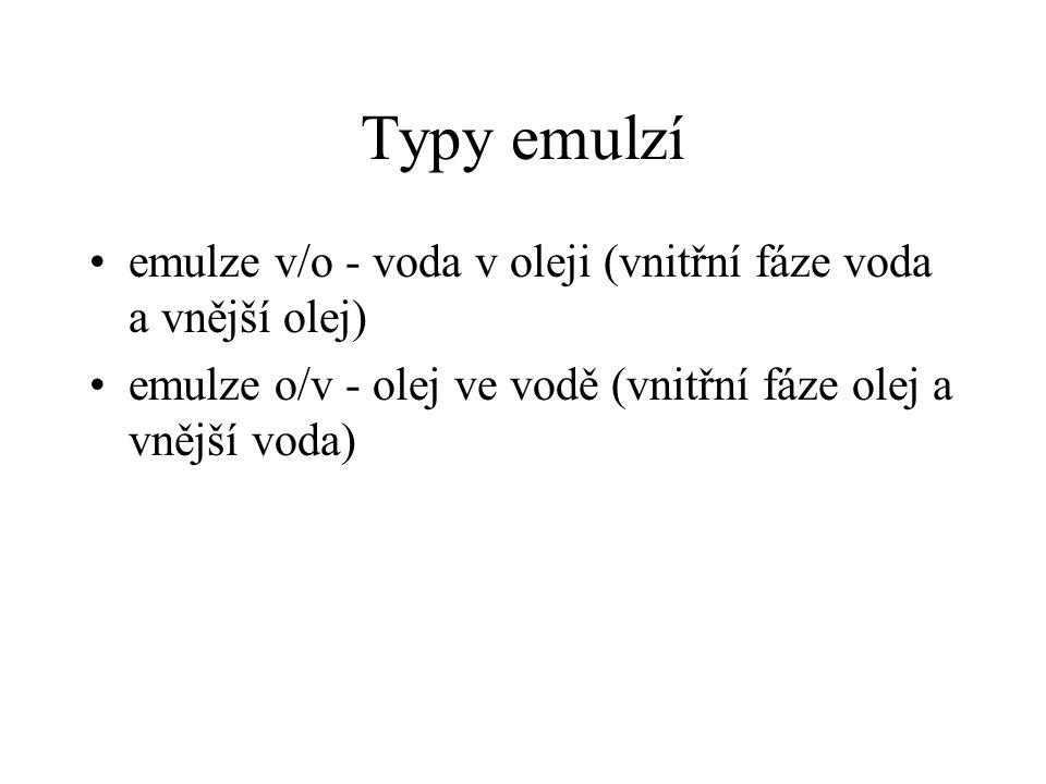 Typy emulzí emulze v/o - voda v oleji (vnitřní fáze voda a vnější olej) emulze o/v - olej ve vodě (vnitřní fáze olej a vnější voda)