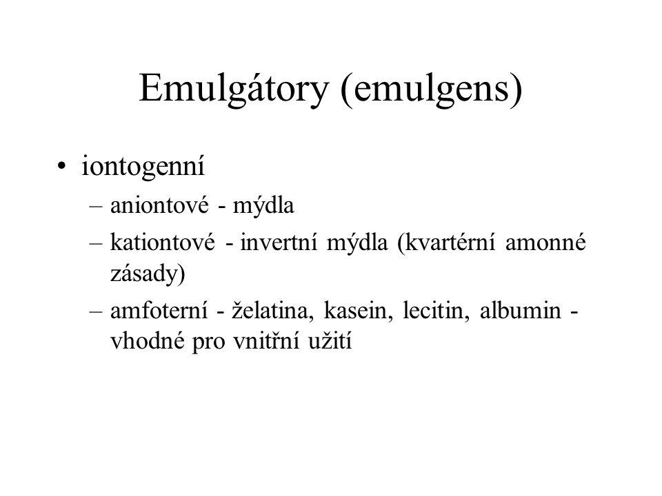 Emulgátory (emulgens)