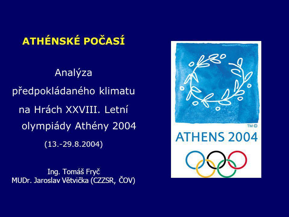 předpokládaného klimatu na Hrách XXVIII. Letní olympiády Athény 2004