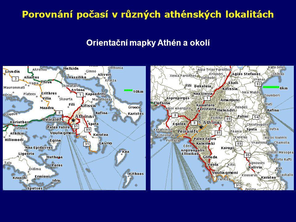 Porovnání počasí v různých athénských lokalitách