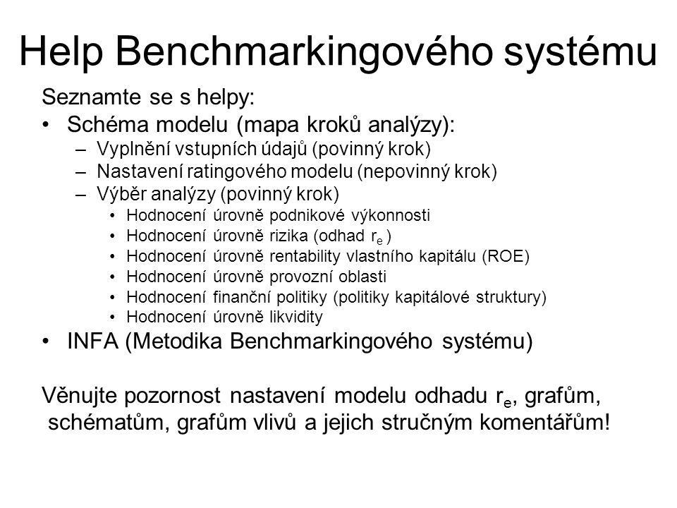 Help Benchmarkingového systému