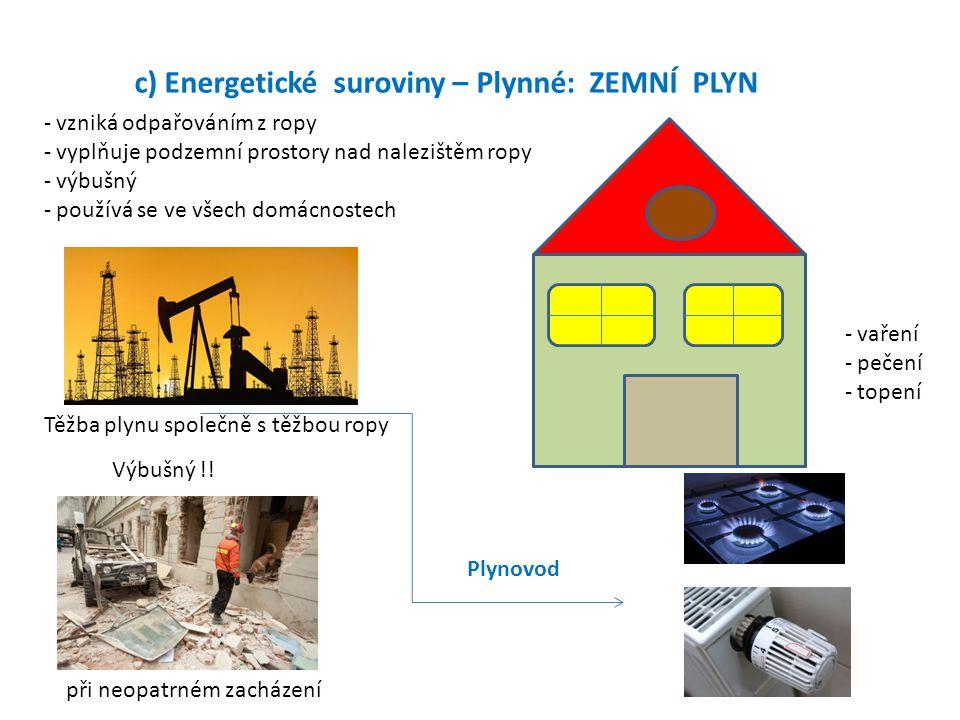 c) Energetické suroviny – Plynné: ZEMNÍ PLYN