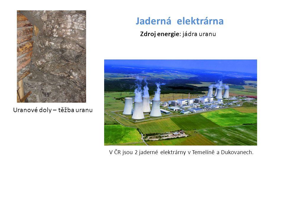 Jaderná elektrárna Zdroj energie: jádra uranu