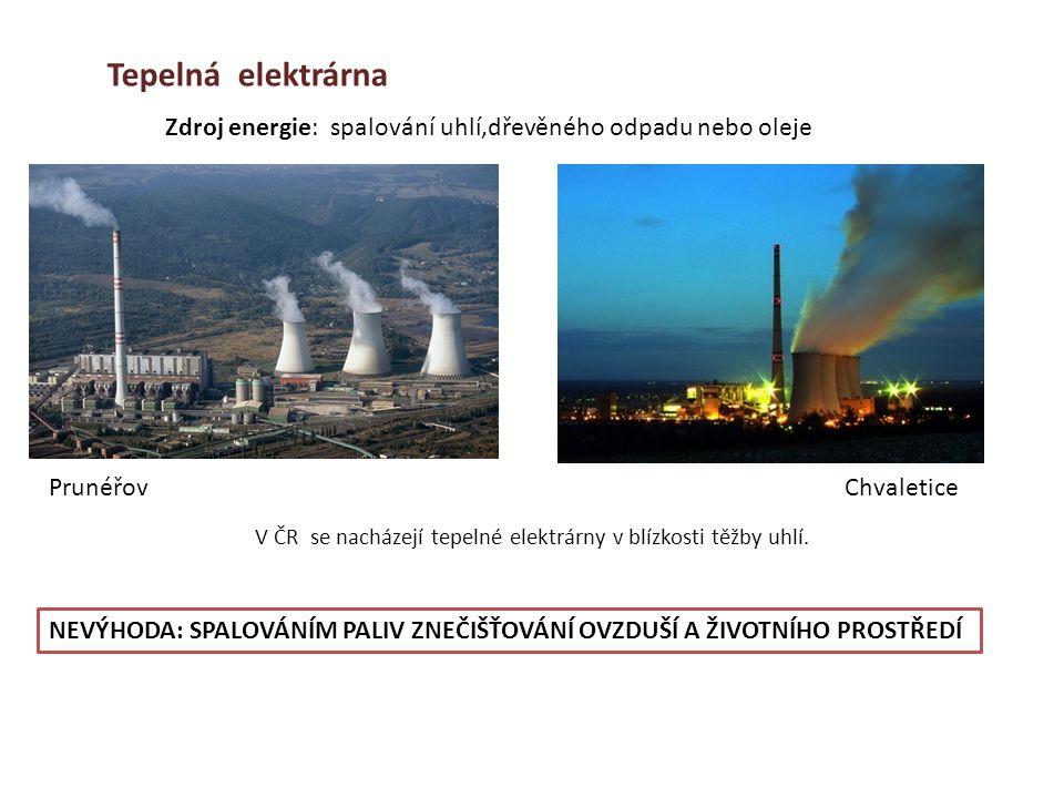V ČR se nacházejí tepelné elektrárny v blízkosti těžby uhlí.