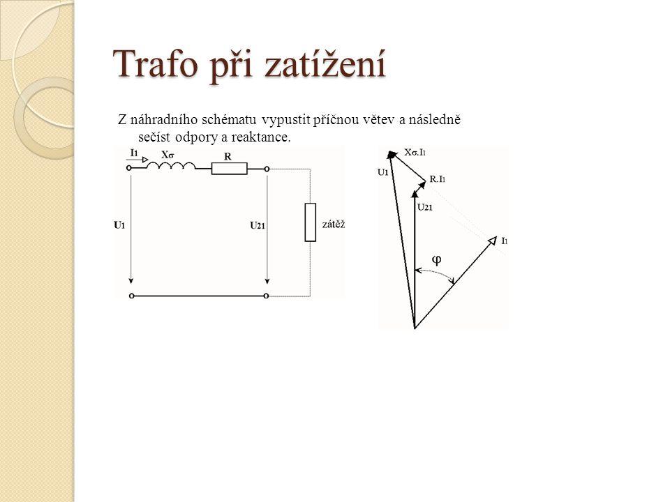 Trafo při zatížení Z náhradního schématu vypustit příčnou větev a následně sečíst odpory a reaktance.