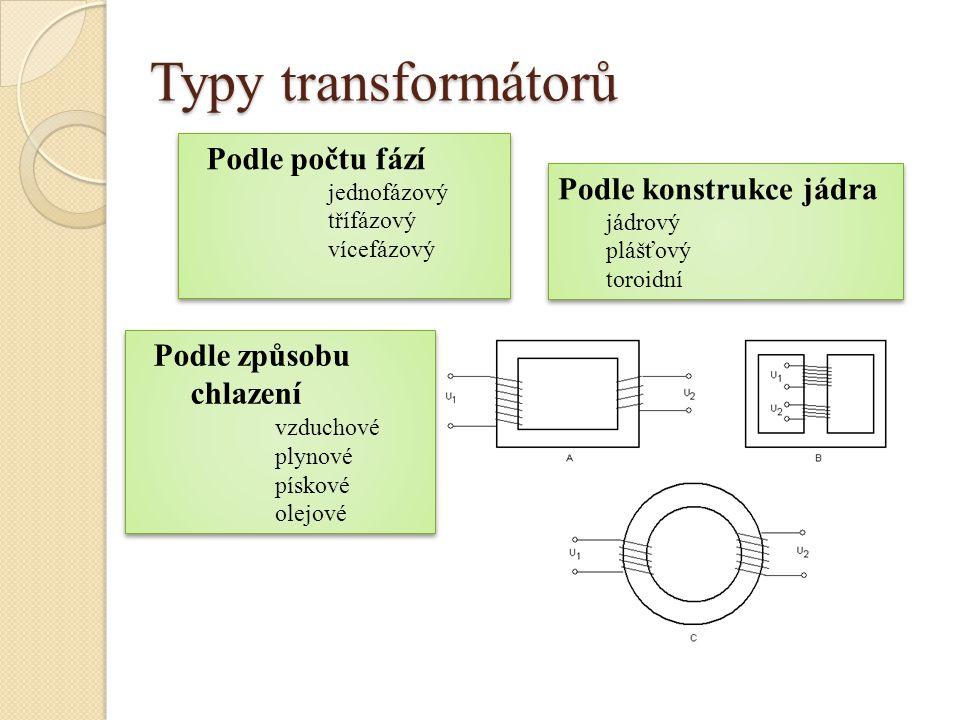 Typy transformátorů Podle počtu fází Podle konstrukce jádra
