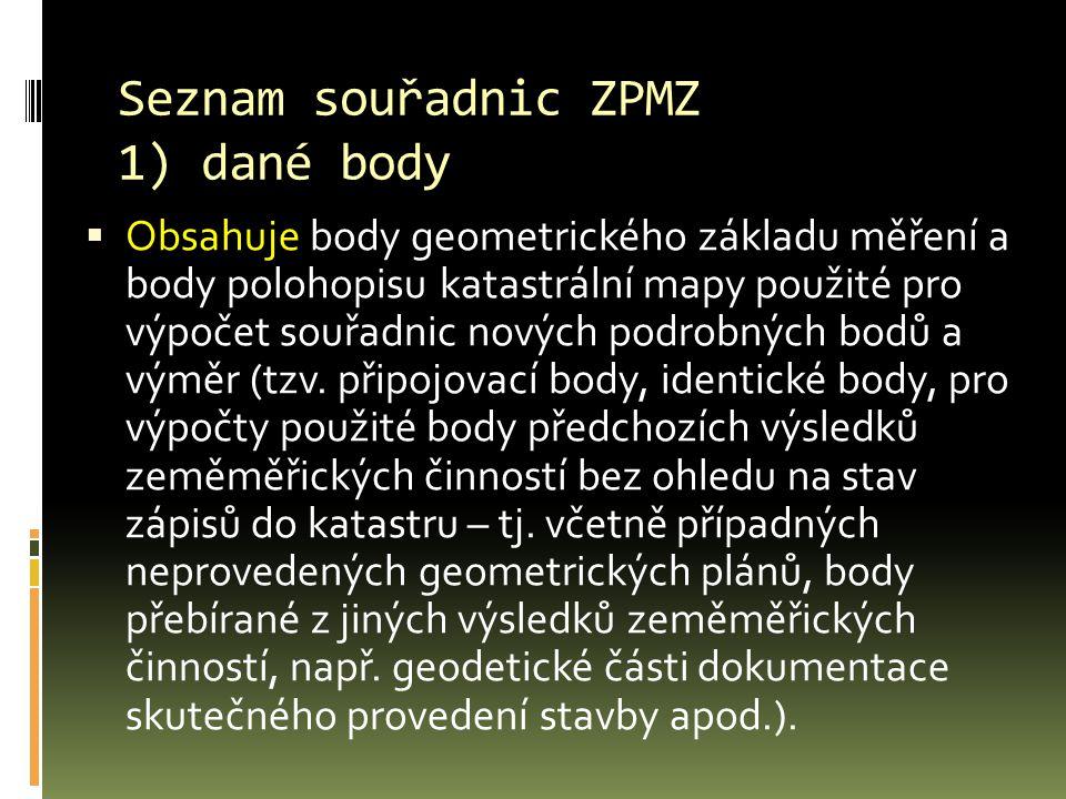 Seznam souřadnic ZPMZ 1) dané body