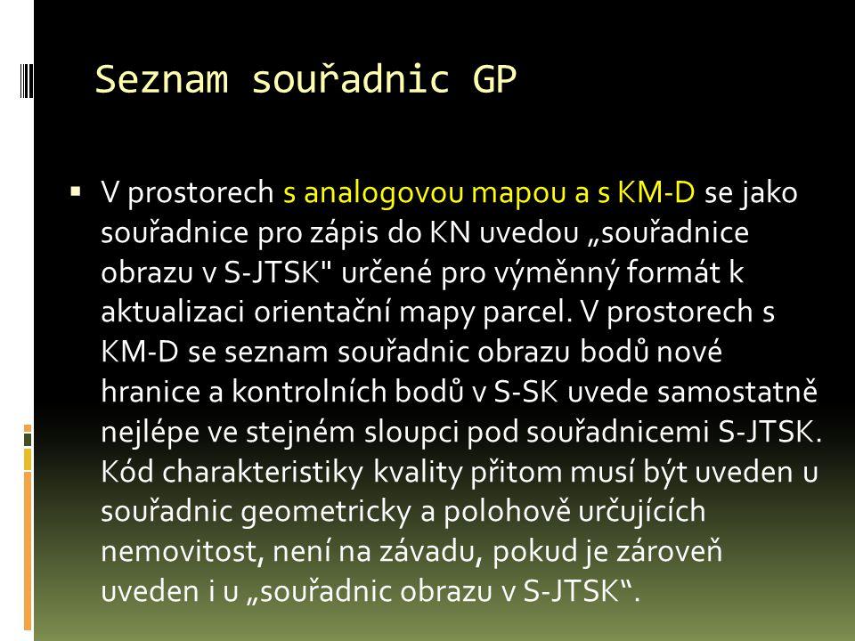 Seznam souřadnic GP