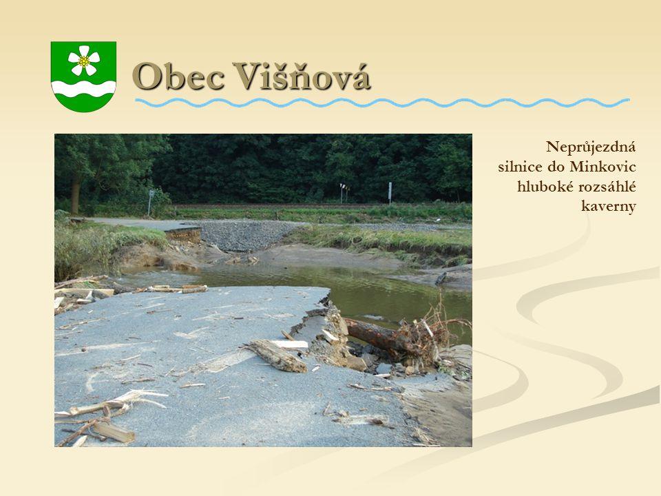Obec Višňová Neprůjezdná silnice do Minkovic hluboké rozsáhlé kaverny