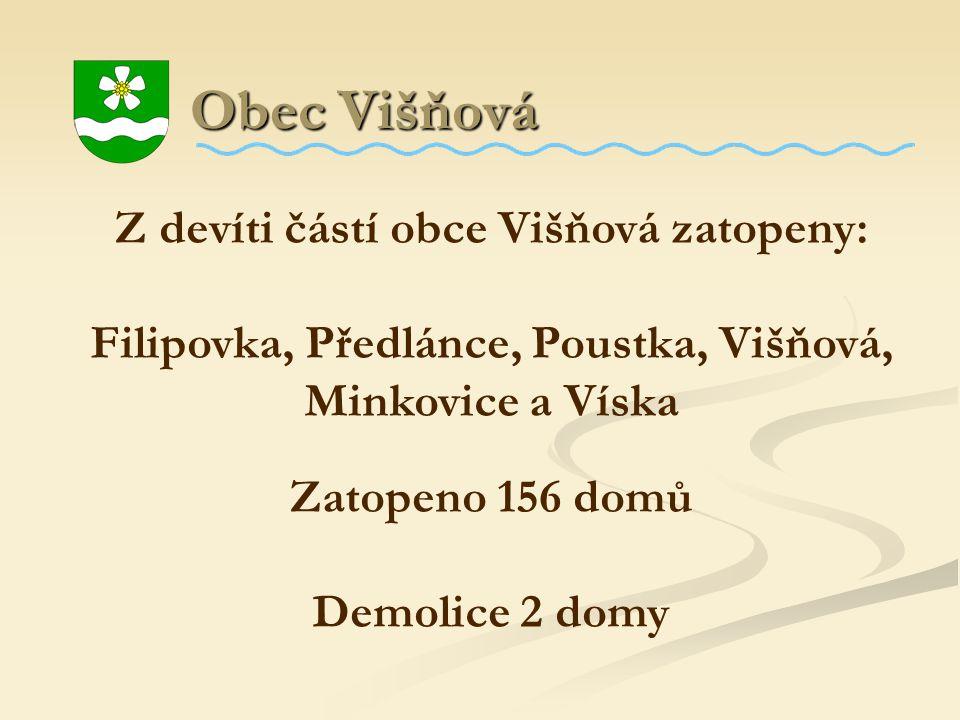 Obec Višňová Z devíti částí obce Višňová zatopeny: