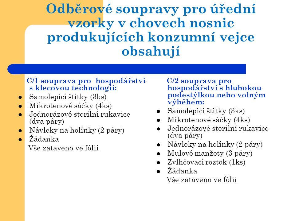 Odběrové soupravy pro úřední vzorky v chovech nosnic produkujících konzumní vejce obsahují