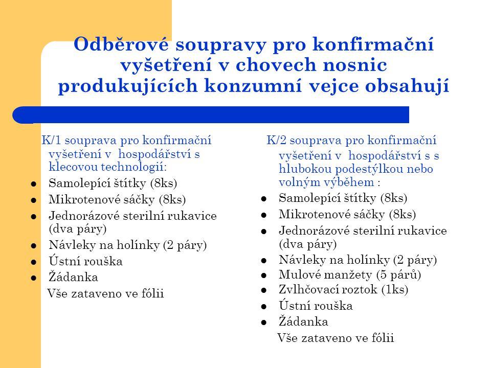 Odběrové soupravy pro konfirmační vyšetření v chovech nosnic produkujících konzumní vejce obsahují