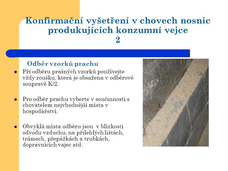 Konfirmační vyšetření v chovech nosnic produkujících konzumní vejce 2