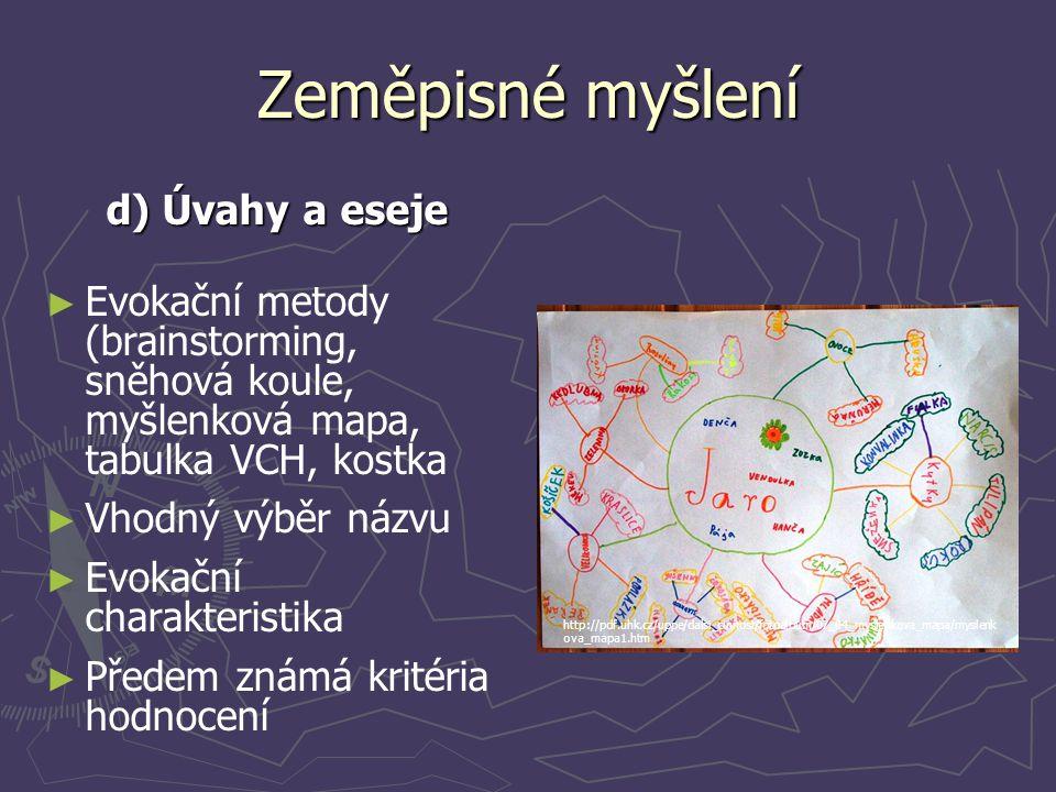 Zeměpisné myšlení d) Úvahy a eseje