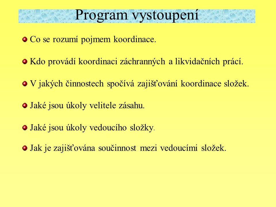 Program vystoupení Co se rozumí pojmem koordinace.