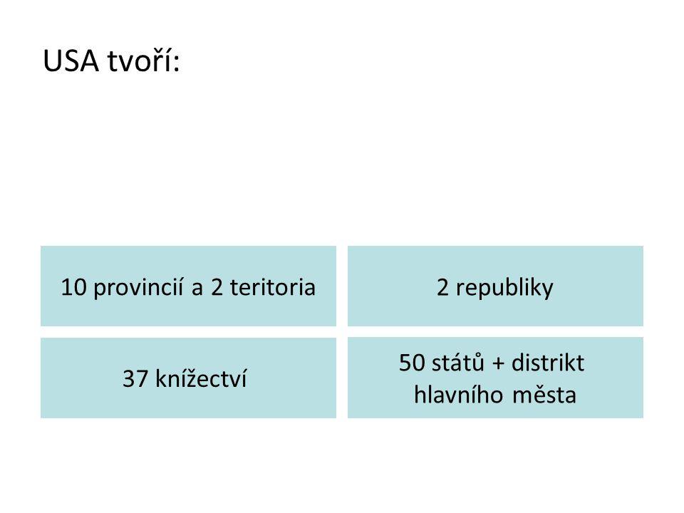 USA tvoří: 10 provincií a 2 teritoria 2 republiky 37 knížectví
