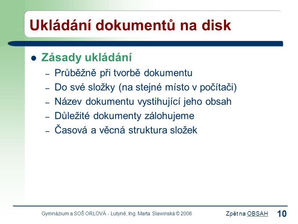 Ukládání dokumentů na disk