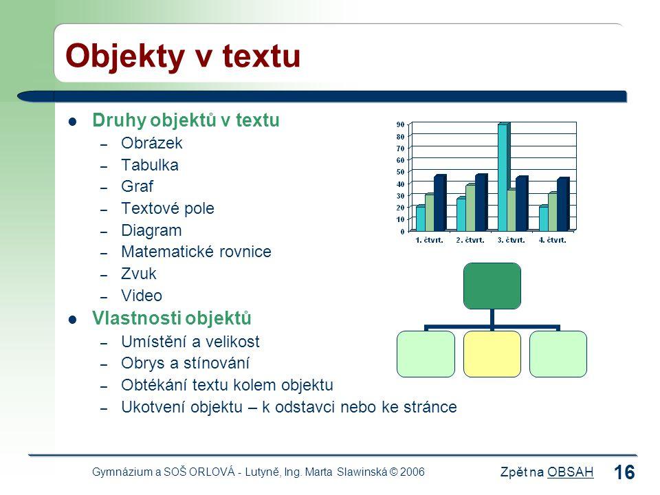 Objekty v textu Druhy objektů v textu Vlastnosti objektů Obrázek