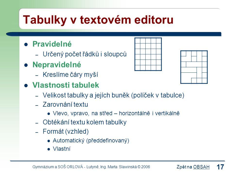 Tabulky v textovém editoru