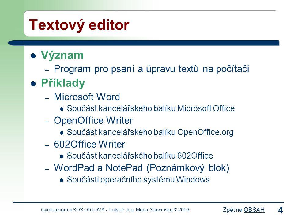 Textový editor Význam Příklady