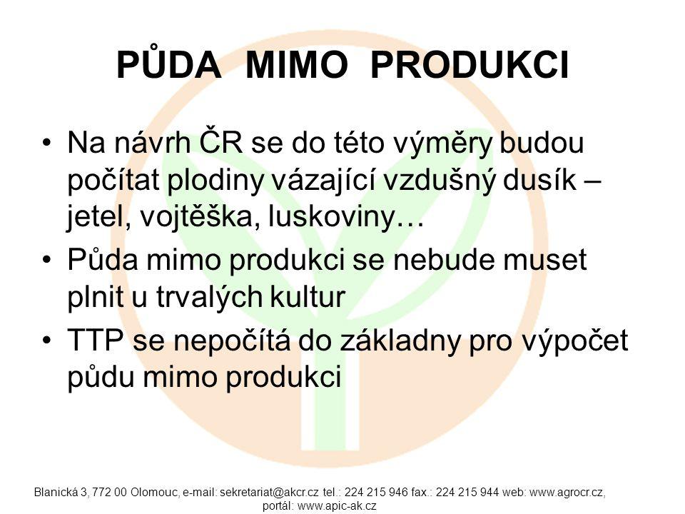 PŮDA MIMO PRODUKCI Na návrh ČR se do této výměry budou počítat plodiny vázající vzdušný dusík – jetel, vojtěška, luskoviny…