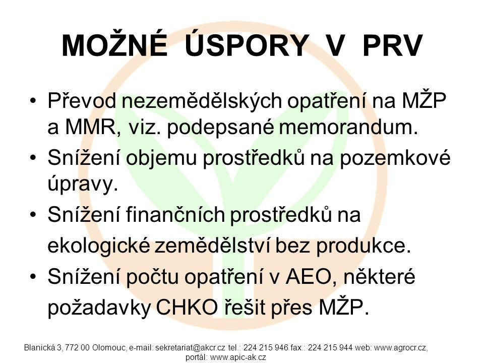 MOŽNÉ ÚSPORY V PRV Převod nezemědělských opatření na MŽP a MMR, viz. podepsané memorandum. Snížení objemu prostředků na pozemkové úpravy.