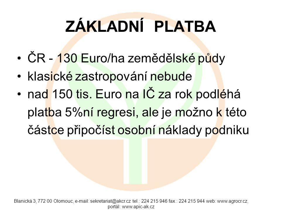 ZÁKLADNÍ PLATBA ČR - 130 Euro/ha zemědělské půdy