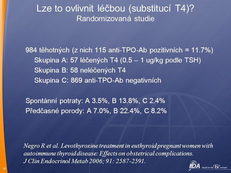 Lze to ovlivnit léčbou (substitucí T4) Randomizovaná studie