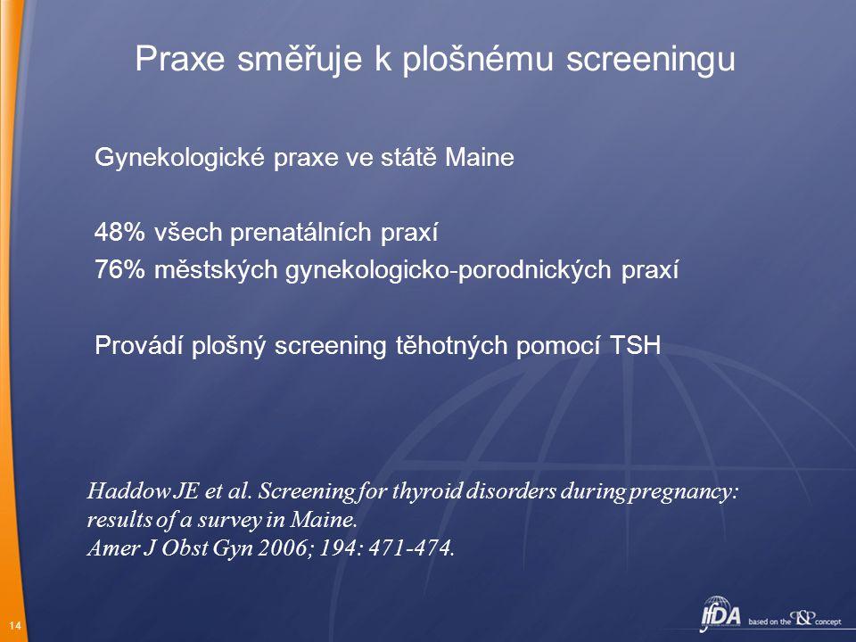 Praxe směřuje k plošnému screeningu