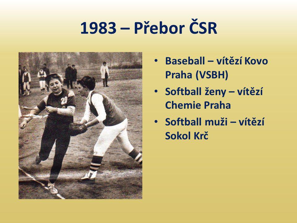 1983 – Přebor ČSR Baseball – vítězí Kovo Praha (VSBH)
