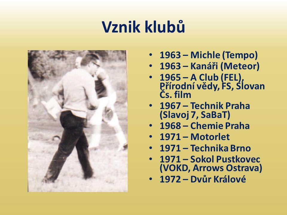 Vznik klubů 1963 – Michle (Tempo) 1963 – Kanáři (Meteor)