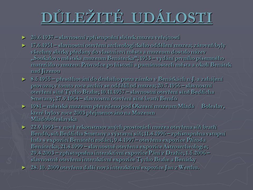 DŮLEŽITÉ UDÁLOSTI 20.6.1937 – slavnostní zpřístupnění sbírek muzea veřejnosti.