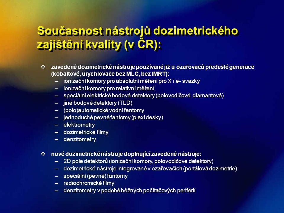 Současnost nástrojů dozimetrického zajištění kvality (v ČR):