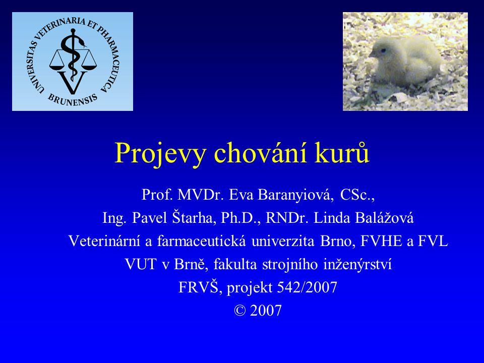 Projevy chování kurů Prof. MVDr. Eva Baranyiová, CSc.,