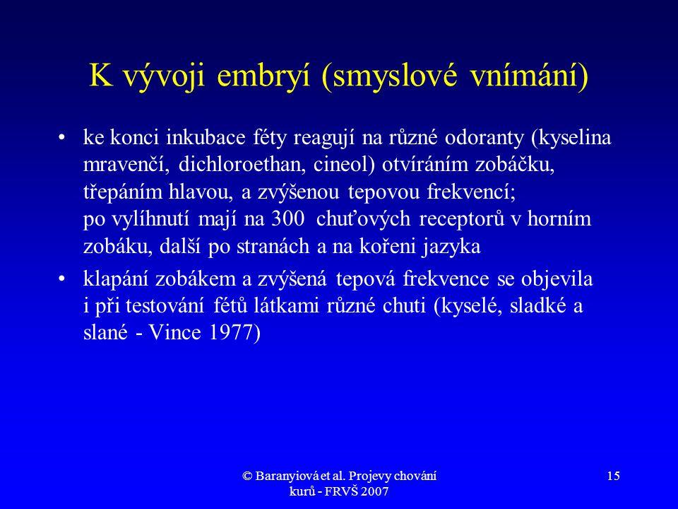 K vývoji embryí (smyslové vnímání)