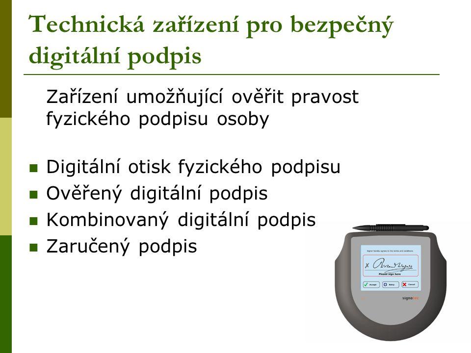 Technická zařízení pro bezpečný digitální podpis