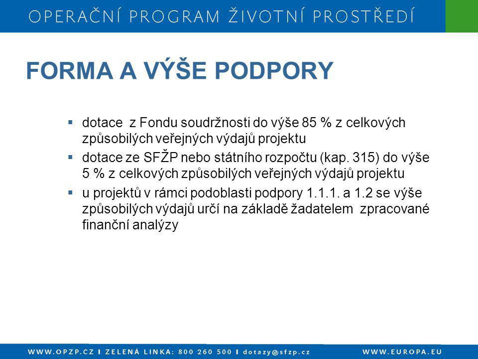 FORMA A VÝŠE PODPORY dotace z Fondu soudržnosti do výše 85 % z celkových způsobilých veřejných výdajů projektu.