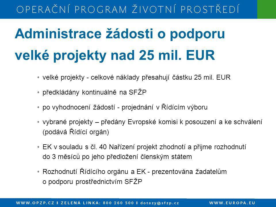 Administrace žádosti o podporu velké projekty nad 25 mil. EUR