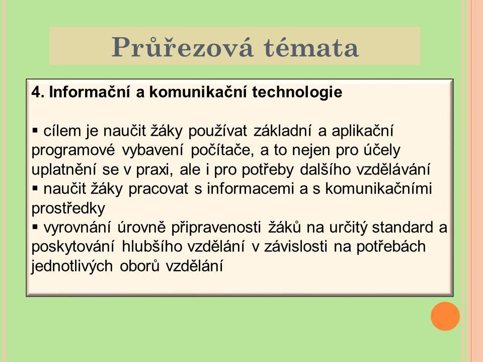 Průřezová témata 4. Informační a komunikační technologie