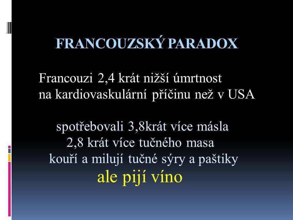 ale pijí víno FRANCOUZSKÝ PARADOX Francouzi 2,4 krát nižší úmrtnost