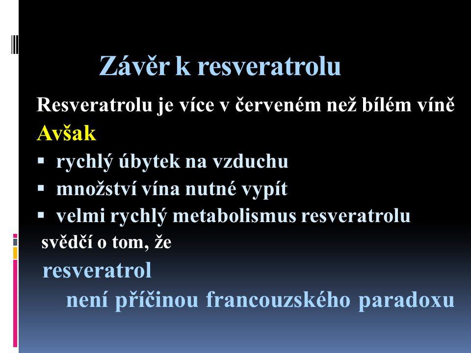 Závěr k resveratrolu resveratrol není příčinou francouzského paradoxu