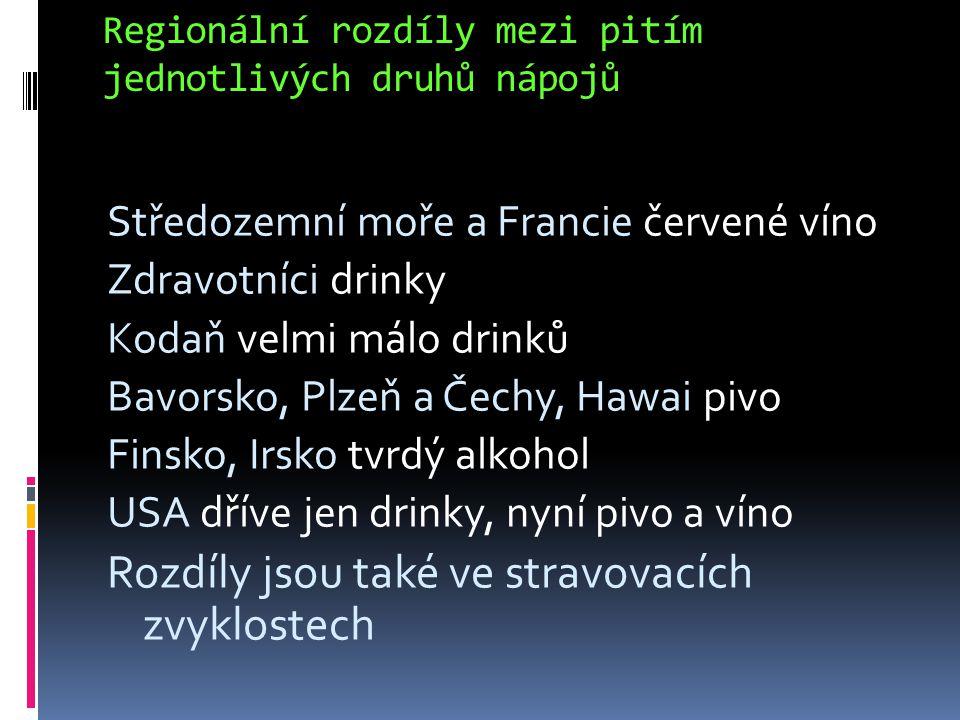 Regionální rozdíly mezi pitím jednotlivých druhů nápojů