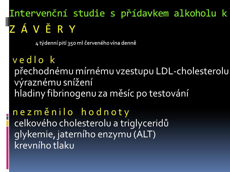 Intervenční studie s přídavkem alkoholu k běžné stravě Z Á V Ě R Y